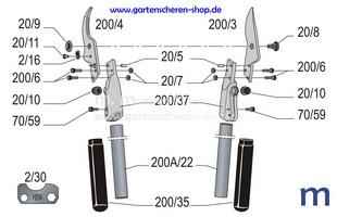 Zweihand-Rebschere Felco 200A-40, Zeichnung der Einzelteile
