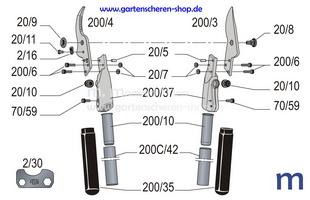 Zweihand-Strauchschere Felco 200C-60, Zeichnung der Einzelteile
