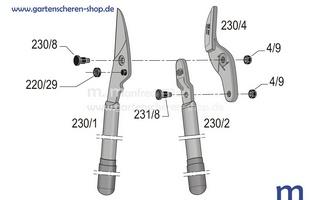 Amboss-Baumschere Felco 230 m. Kraftübersetzung, Zeichnung der Einzelteile