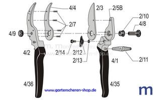Gartenschere Felco 4, Zeichnung der Einzelteile